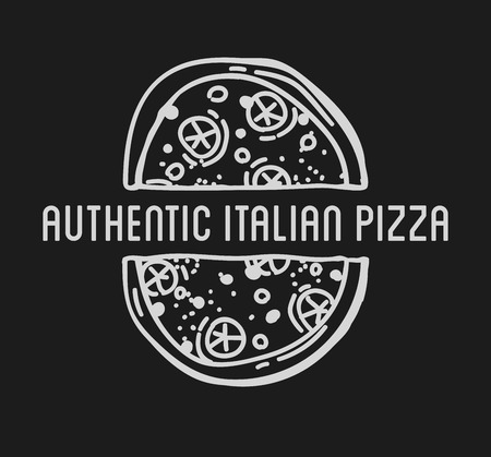pizzeria label design: Pizza Label Design Typographic. Pizza festival or pizza fest. Vintage food pizza template for restaurant. Vector Illustration. Illustration