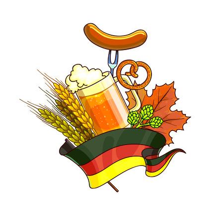 octoberfest: del dibujo animado del festival de Octoberfest con un vaso de cerveza, las orejas. Ilustración del vector. Vectores