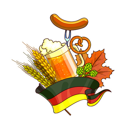 barley hop: Octoberfest festival cartoon design with glass of beer, ears. Vector Illustration.