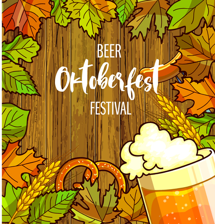 barley hop: Octoberfest festival cartoon design with glass of beer, ears lettering card on wooden background. Vector Illustration.