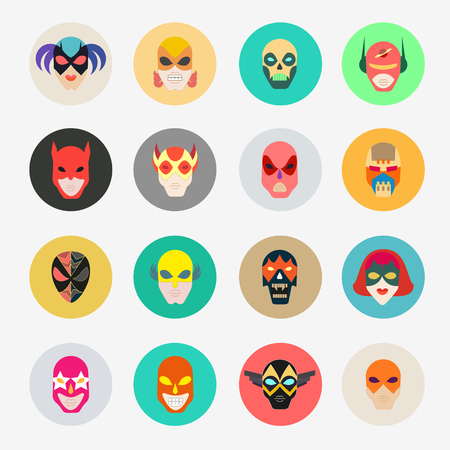heroic: Super hero masks for face character. Superhero flat icons. Symbol of strong and heroic savior. Vector illustration isolated on white Illustration