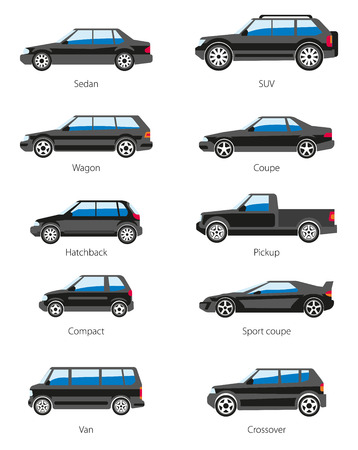 Vector set of car bodies in black color. Different car types icons: sedan, suv, wagon, coupe, hatchback, pickup, compact, sport coupe, van, crossover. Flat style. Isolated on white.