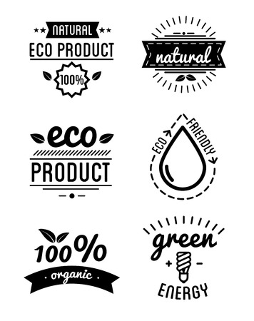 hundred: Set of organic food labels and design elements or eco product. Vector Illustration.