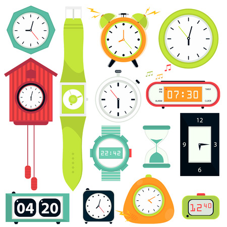digital timer: Vector set. Types of alarms clocks, digital watch and timer, stopwatch and hourglass. Symbol of time. Flat style illustrations isolated on white.