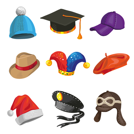 Set of cartoon police and joker hats. Collection with baseball, knitted and graduation caps. Vector illustration isolated on white Illustration