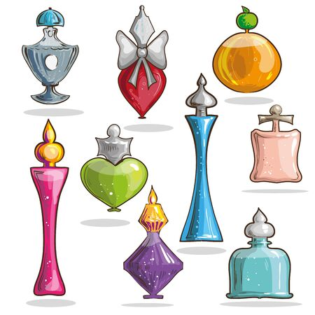 odors: Set of vector glass elegant bottles with perfumes. Luxury fragrance female collection: parfum and cologne. Sprayer container with aroma liquid.