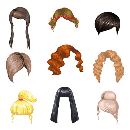 Set of fashion female hair styles. Colored hair: brunette, blond and ginger. Different beautiful haircuts for girls. Woman hairstyles: long and short, curly and haircut. Vector illustration on white
