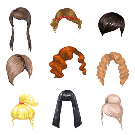 Set van mode kapsels vrouwelijke. Gekleurd haar: brunette, blond en gember. Verschillende mooie kapsels voor meisjes. Vrouw kapsels: lang en kort, krullend en kapsel. Vector illustratie op wit