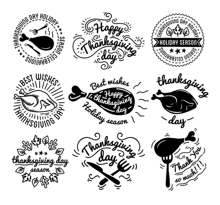 gobble: Set of labels design template to Thanksgiving Day. Black icons with turkey for banner and invitation. Vector tags, stickers and badges with symbols for fall holiday. Flat design. Illustration isolated