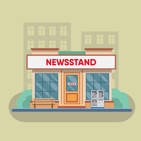 selling: Newsstand selling newspapers and magazines in town. Vector illustration.
