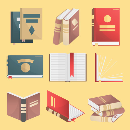 closed book: Books icons set. Books stack, opened book, closed book, books shelf, knowledge concept. Flat design. Education and literature symbols. Vector illustration isolated Illustration