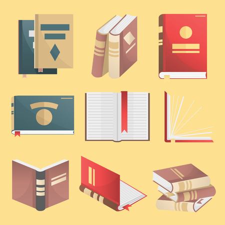 books isolated: Books icons set. Books stack, opened book, closed book, books shelf, knowledge concept. Flat design. Education and literature symbols. Vector illustration isolated Illustration