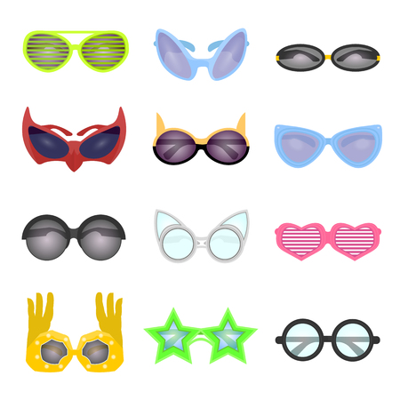 fashion collection: Set of fashion glasses. Collection vector sunglasses. Modern and retro style, shutter glasses for a masquerade party and photo shoots. Cartoon illustration isolated on white background