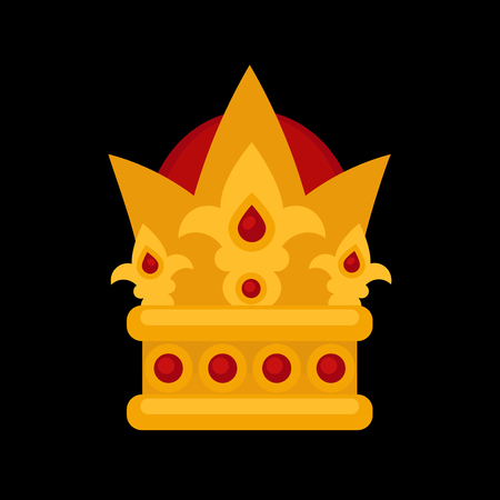 Gold crown flat icons. Vector isolated Illustration. Royal king or queen, princess crown. Awards for winners.
