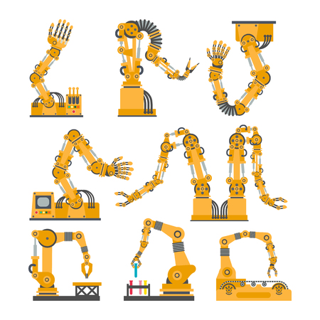 Set of robotic arms, hands. Vector robot icons set. Industrial technology and factory symbols. Flat illustration isolated on white background Illustration