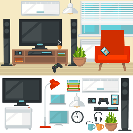 multimedia: Concept of creative living room with chair and tv. Modern home interior with furniture and things and items. Isolated multimedia icons set. Flat style vector illustration.