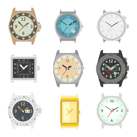 gold watch: Set of vector watches. Stylish accessory for men. Wristwatch collection. time symbol. Different watch on white background. Flat style illustration. Illustration