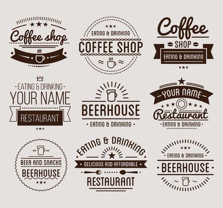 Vintage . Coffee shop template. Restaurant label. Beer house label. Graphic design element for business cafe, bar, pub. Vector Illustration isolated on background.