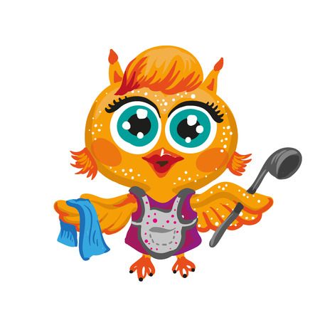 Vector cute owl. Cartoon character housewife . Isolated illustration on white. Illustration