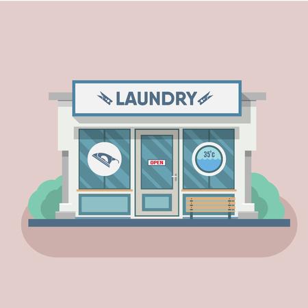auto washing: Building laundry flat design. Washing mashine. Vector art illustration