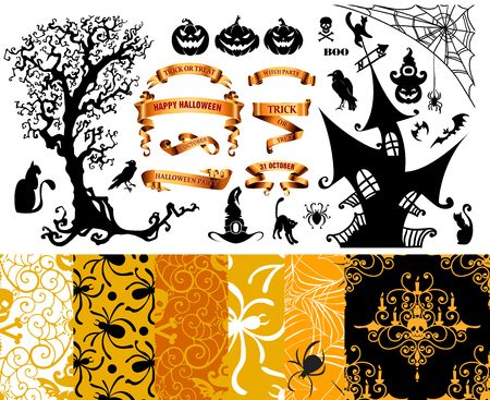 Happy Halloween background. Set of seamless patterns with traditional holiday symbols skulls, spider on web. Collection vector illustrations with scary pumpkins, house and tree. Illustration