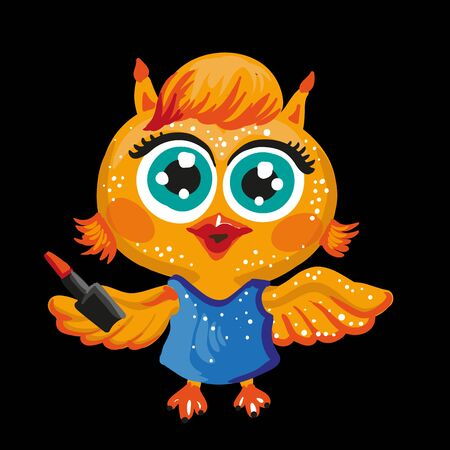 makeup artist: Vector cute owl. Cartoon character. Make-up artist. Isolated illustration on white