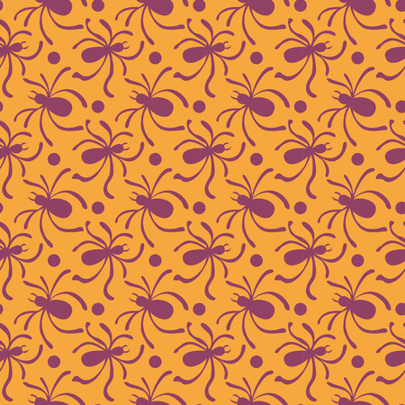 happy web: Happy Halloween background. Seamless pattern with traditional holiday symbols skulls, spider on web. Vector illustrations.