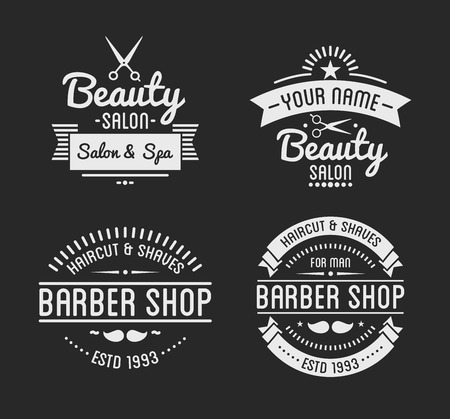 beauty shop: Set of vintage barber shop  and beauty spa salon badges. Vector elements. Isolated icons on dark background Illustration
