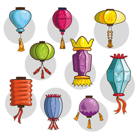 different shapes: Set of Chinese lanterns. Fun vector illustration different shapes and colors. Isolated on white background. Illustration