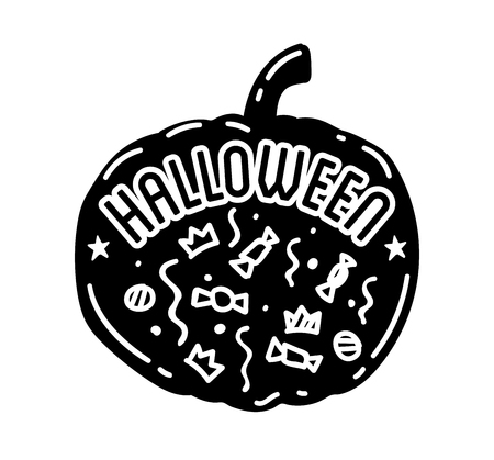 Happy Halloween design . Black badge and label with text inside. Holiday decoration emblem and sticker. Zombie party. Vector illustration.