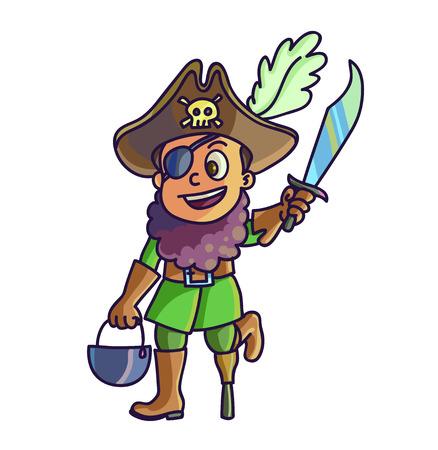 Happy halloween. Cartoon cute child in costume pirate. Vector Illustration. Illusztráció