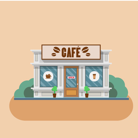 cartoon window: Cafe building shop facade. Vector flat illustration