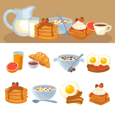 Vector breakfast food set. Icons of healthy food orange juice, eggs and bacon, croissant, pancakes, cereal and waffles. Cartoon illustration isolated on white. Illustration