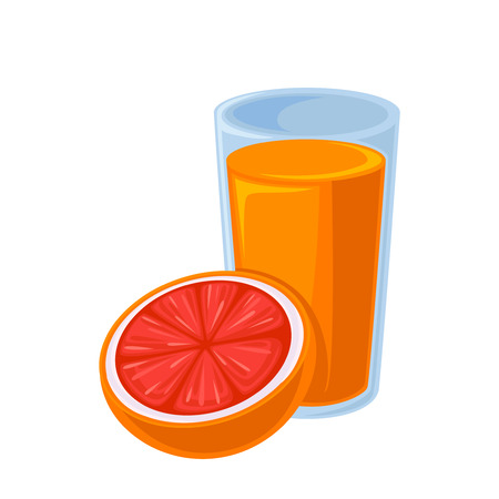 orange juice: Vector breakfast food . Icon of healthy food orange juice with half of orange. Cartoon illustration isolated on white.