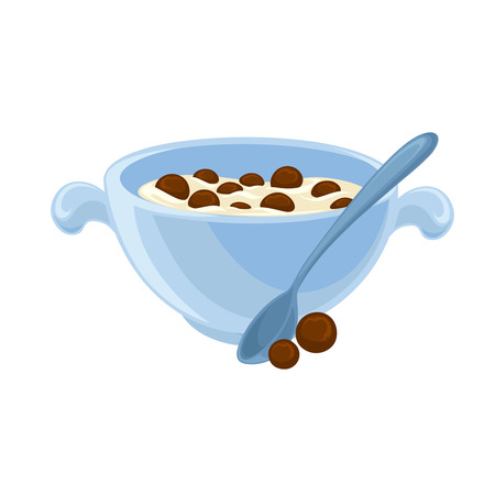 bowls: Vector breakfast food . Icon of healthy food cereal . Cartoon illustration isolated on white.
