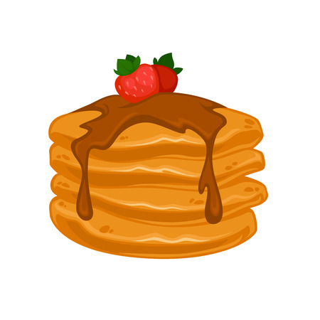 Vector breakfast food . Icon of healthy food pancakes. Cartoon illustration isolated on white.