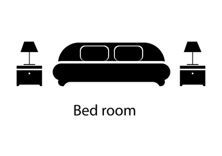 hotel bedroom: Home and hotel bedroom interior with furniture. Line vector icon illustration Illustration
