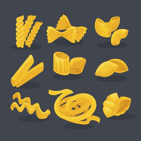italian food: Vector set foods of wheat. Italian cuisine pasta and macaroni, fusilli, spaghetti and penne, farfalle and tagliatelle. Cartoon illustration isolated on white background. Illustration