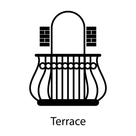 Home and hotel terrace interior with furniture. Line vector icon illustration