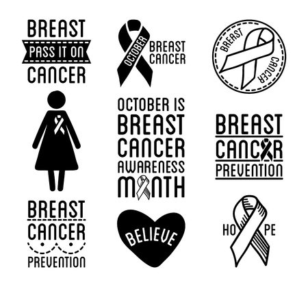 black breast: International Day of Breast Cancer Awareness. Set of vector ribbons and badges. Symbols of hope, charity and support. Black design elements. Vector illustration isolated on white background.