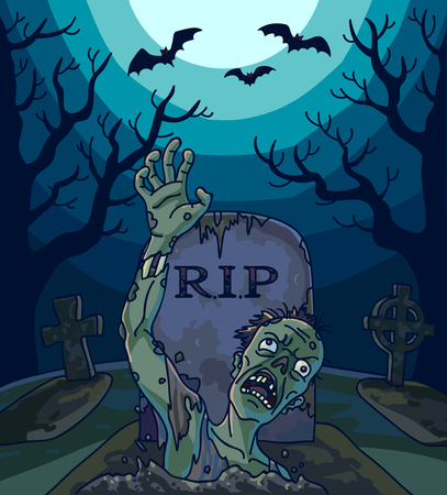 man on the moon: Halloween vector illustration with spooky zombie dead man, moon and grave. Background with scary landscape with graveyard to night. Horror holiday design.