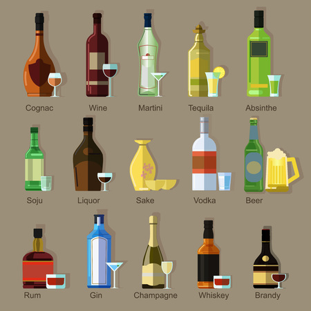 Set of alcohol drinks in bottles and glasses. Symbols of beverage and bar: wine, champagne, vodka and beer, whiskey and martini. Flat icons. Vector illustration isolated