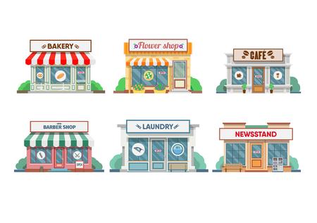 Bloemenwinkel, wasserette, kapper, bakker en kiosk, cafe gevel in de stad. vector illustratie Stock Illustratie