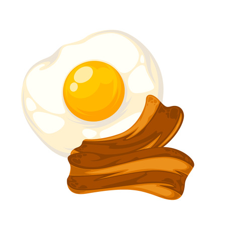 egg roll: Vector breakfast food . Icon of healthy food eggs and bacon. Cartoon illustration isolated on white.