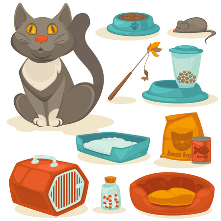 cat grooming: Cat accessories set. Pet supplies: food, toys, mouse, bowl and box, toilet and equipment for grooming. Cartoon style. Vector illustration isolated on white background.