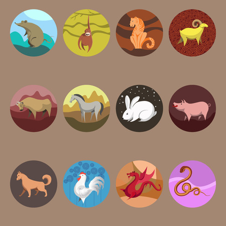 chinese astrology: Set icons of zodiac animals for horoscope design. Chinese horoscope: Rat, Ox, Tiger, Rabbit, Dragon, Snake, Horse, Goat, Monkey, Rooster, Dog, Pig. Flat style. Vector illustration isolated