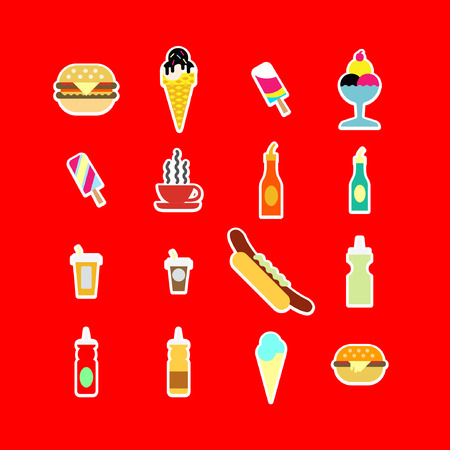 Fast food colorful flat design icons set. template elements. Vector Illustration.