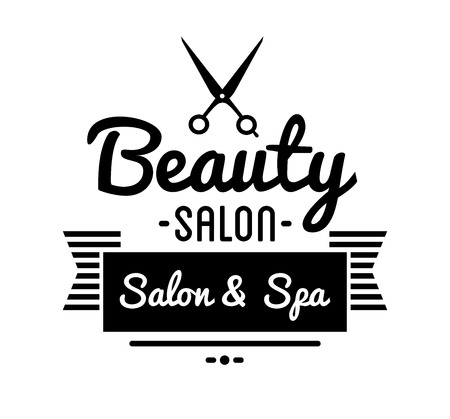beauty shop: Vintage barber shop  and beauty spa salon badge. Vector element. Isolated icons on white background
