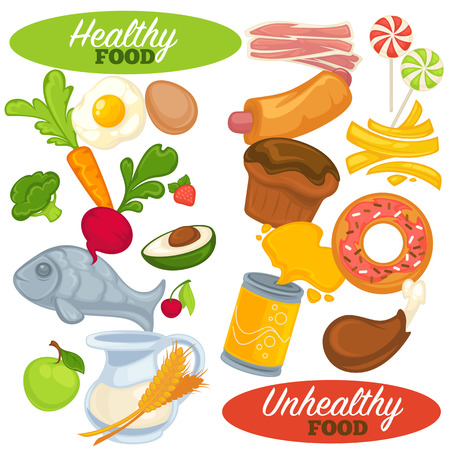 Healthy and unhealthy food set. Icons of fast and junk food, fresh natural nutrition. Fruits and vegetables, hamburger and soda. Cartoon style. Vector illustration isolated on white background. Иллюстрация