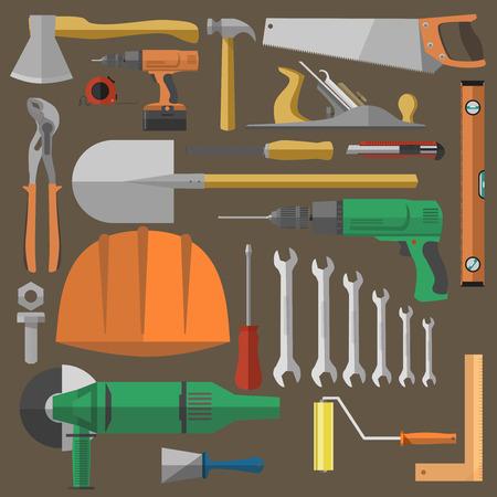 Conjunto de herramientas para la construcción, reparación y equipos de construcción. iconos planos: martillo, alicates, llave, destornillador, taladro, sierra. Ilustración del vector aislado